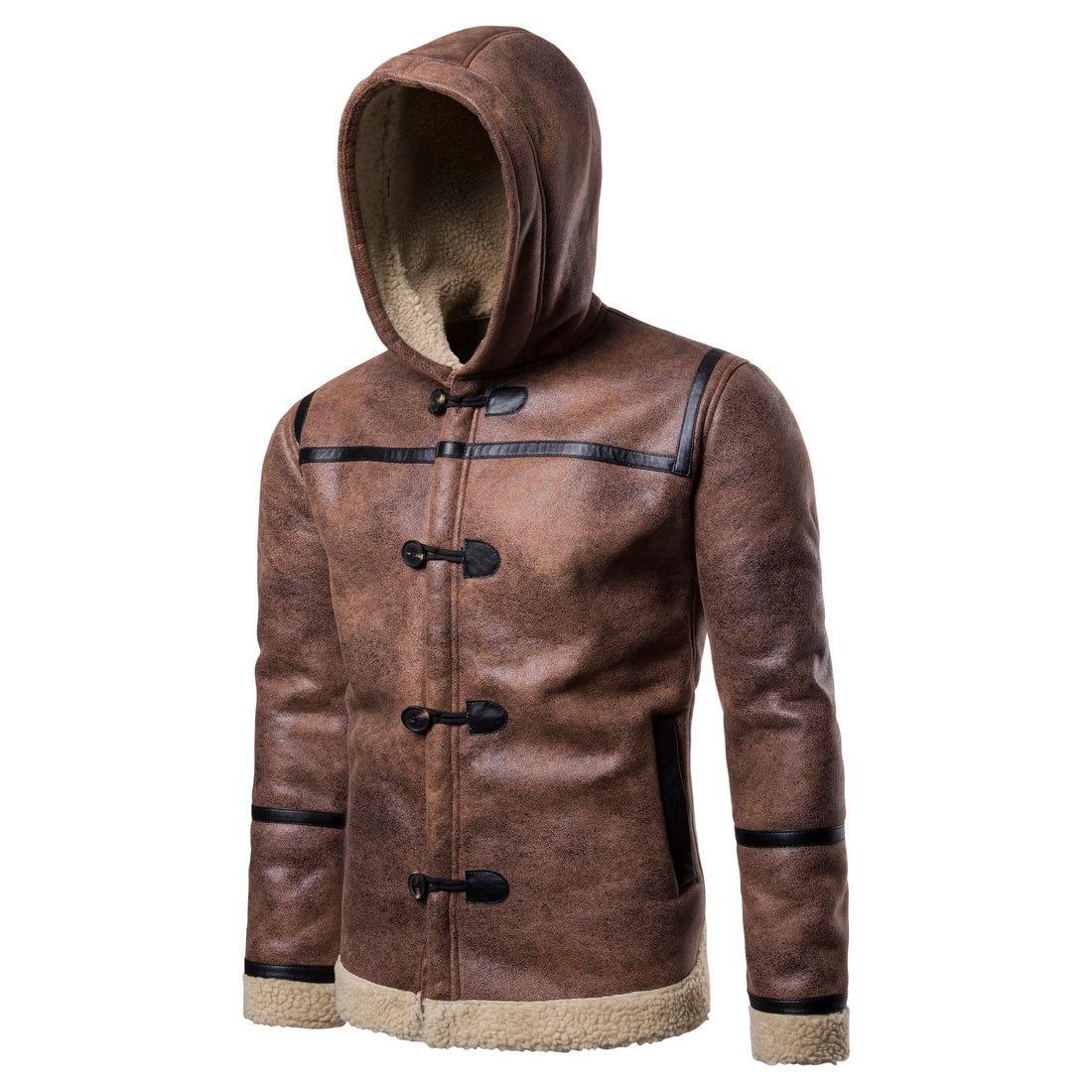 Chaquetas para hombre chaqueta de cuero PU más terciopelo tendencia cálida para hombre ropa otoño invierno moda clásico retro eop