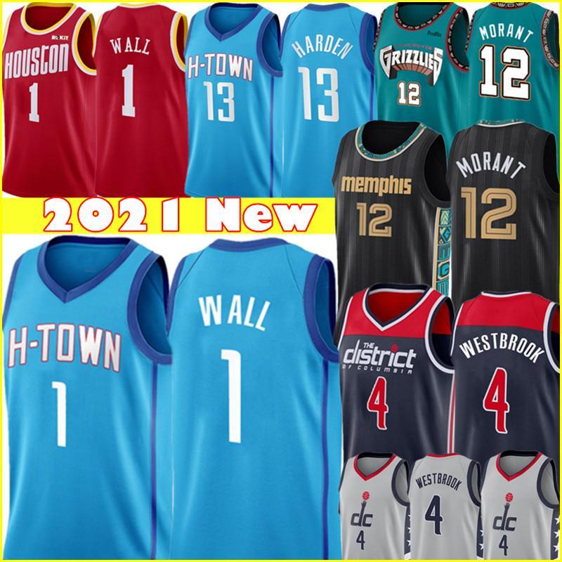 1 John Jersey Wall Ja 12 Morant Jerseys Mens Russell 4 Westbrook كرة السلة الفانيلة S-XXL أزرق أحمر أسود أبيض