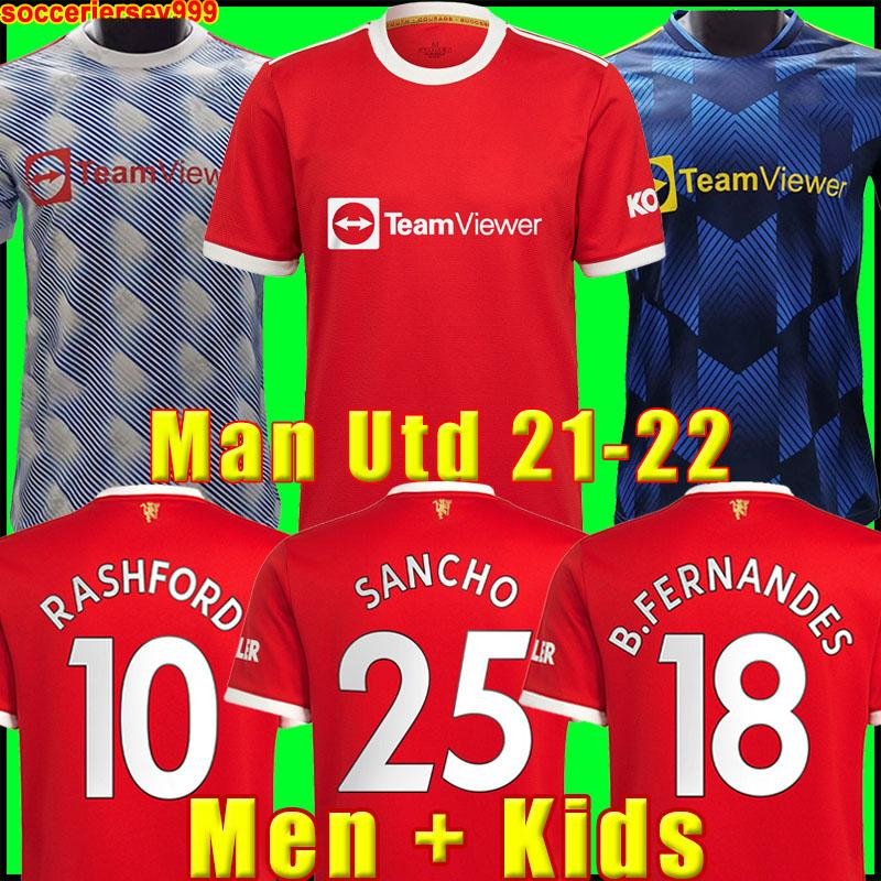 قمصان كرة القدم في مانشستر 2021 2022 UNITED CAVANI UTD VAN DE BEEK B. FERNANDES RASHFORD قميص كرة القدم 21 22 رجل + طقم أطفال HUMANRACE