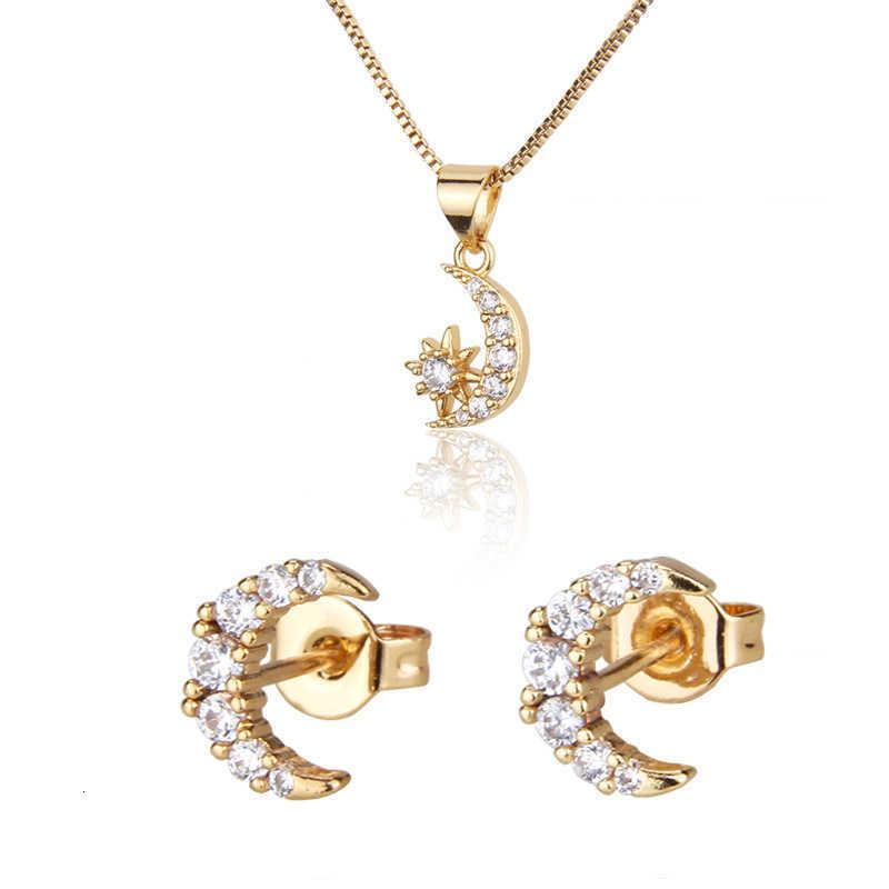 colar straight star lua nelace conjunto de pingente de pingente banhado a ouro