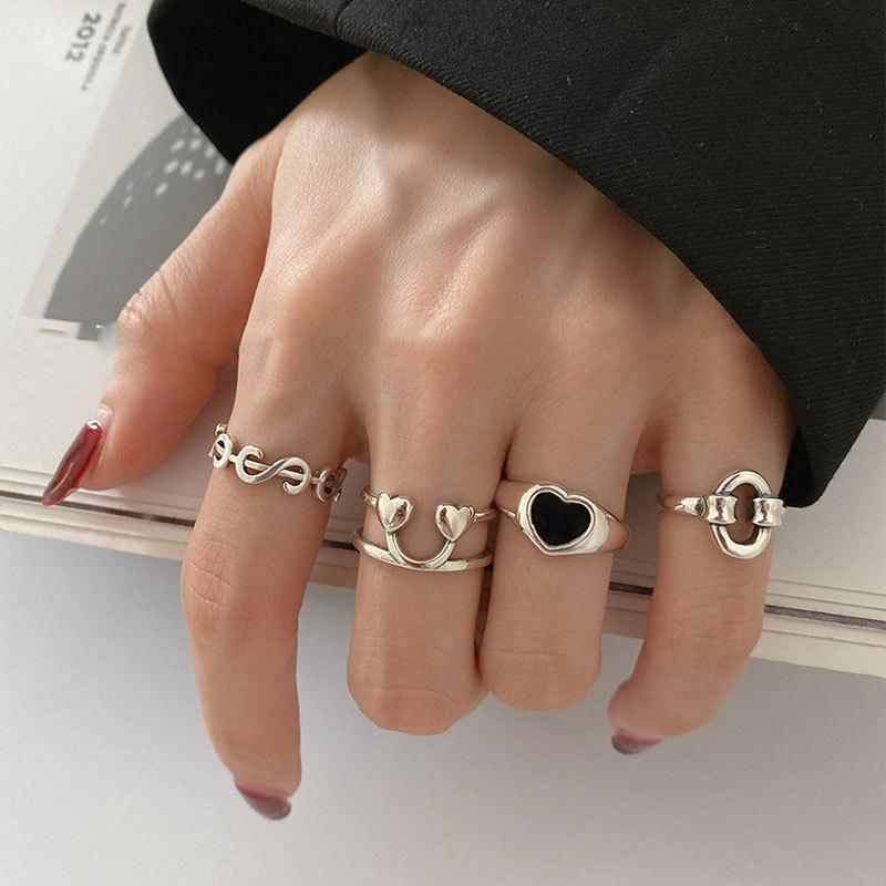 Trend Kore Kalp şeklinde Aşk Şeftali Doları Gülümseme Yüzük Kadın Sıcak İşaret Parmak Kuyruk Yüzük Moda Aksesuarları Y0420