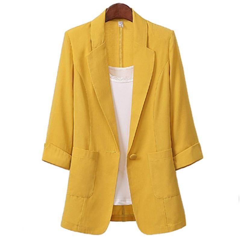 Women Cotton Linen 3/4 Sleeve Plus Size Suit Jacket 2021 Spring Summer Korean Casual Fashion Single Button Blazer 513 Women's Suits & Blazer