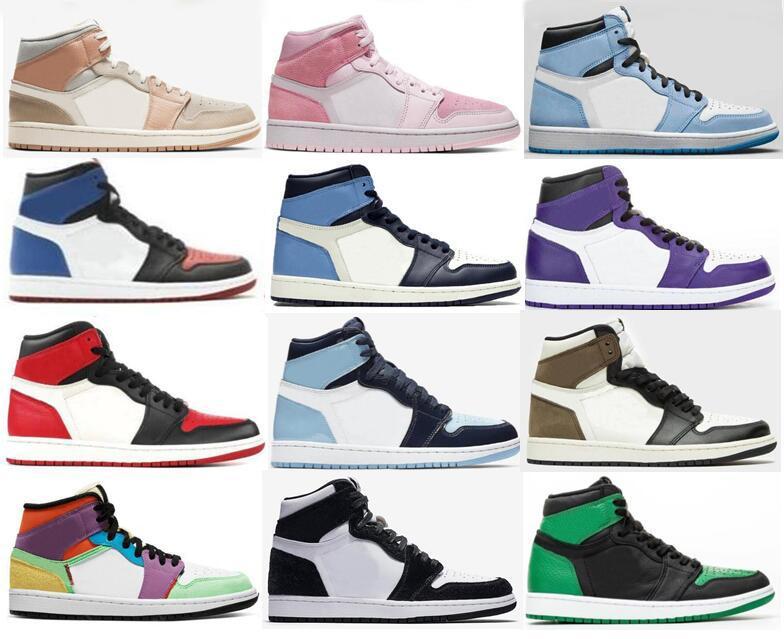 1 Университет синий извист Mid Milan Digital Pink Lightbulb Chicago Баскетбольные туфли Мужчины 1S Top 3 Comped Toe Court Purple UNC Патентные кроссовки