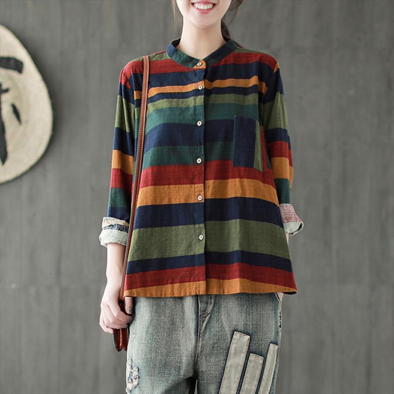 Vintage Striped Cotton Linen Women Blouses Casual Autumn Fashion Mori Girl Long Sleeve Tops Female P057