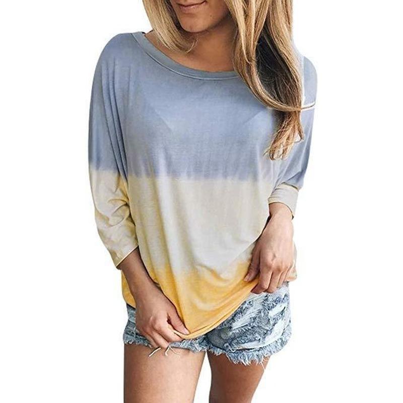 Casual Top T-shirt Dyeing Gradient de manga larga Otoño Moda de las mujeres