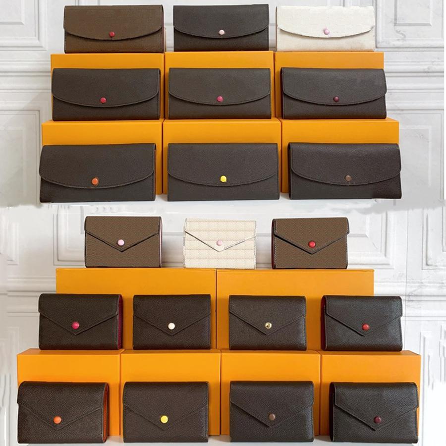 L152 Top Quality Femmes Boîte Original Boîte à dos de luxe Cuir Vériel Multicolore Porte-cartes Porte-cartes Porte-cartes Single Classique Classique Pochette Pochettes Porte-monnaie longue Porte-monnaie