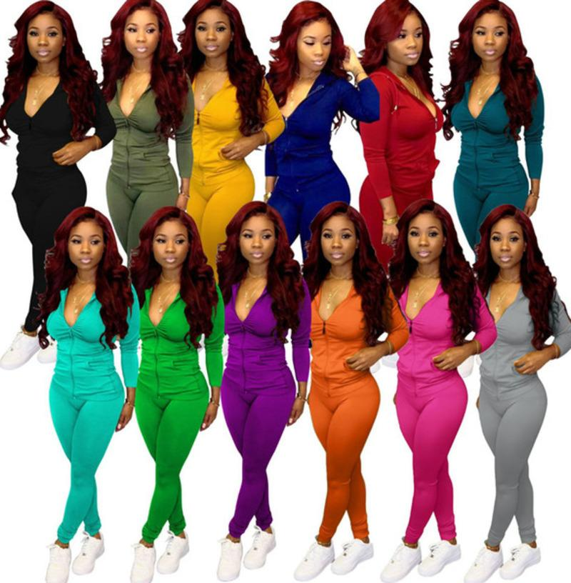 Fall Winter Women Tracksuits 2 Pieces Set Solid Color Long Sleeve Hooded Zip Cardigan Pencil Pants Outfits Fashion Casual Sweatsuits S-XXL