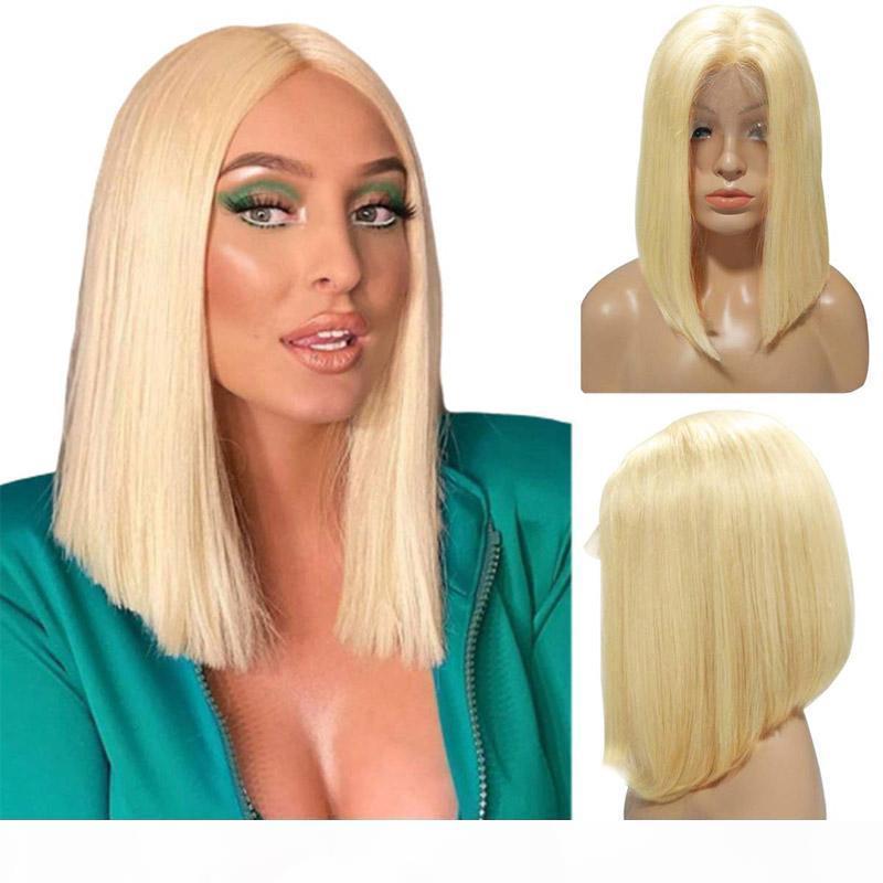 613 Blogonde Full Pizzo Parrucche dei capelli umani parrucche del pizzo Parrucca anteriore del pizzo Bob Remy Hair Short Bob Parrucche preponizzate Hairline con capelli per bambini per le donne nere