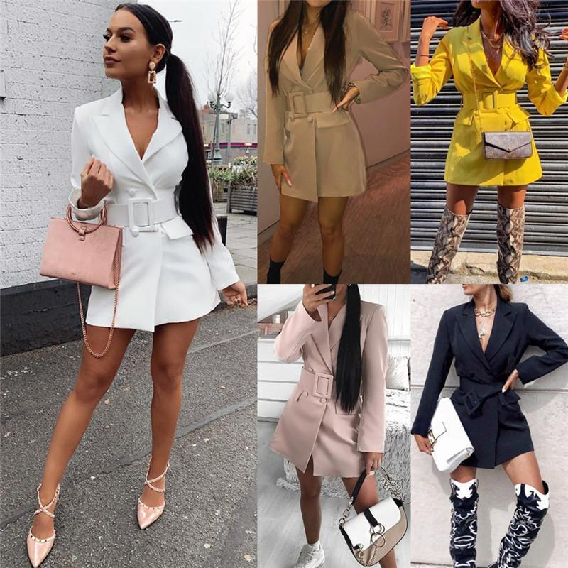 Bayan Seksi Ince Bodycon Yaka Blazers Kruvaze Kemer Uzun Kollu Derin V Boyun Elbise Ceket Ceket Kadın Dış Giyim