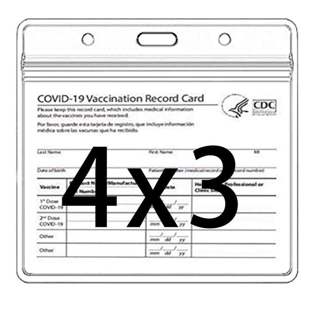 Protezione della scheda CDC 4 x 3 pollici Carte da record immunizzazione Supporto Cancella Vinyl Plasty Sleeve 3 x 4 con tipo impermeabile zip risigillabile 5862