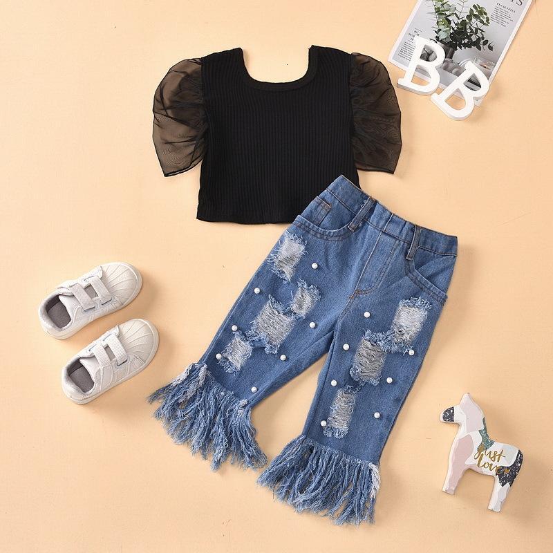 의류 세트 도매 여름 소녀 2-PCS 검은 짧은 소매 셔츠 + 구멍 술 주자 진주 청바지 키즈 복장 E1789 i6m3