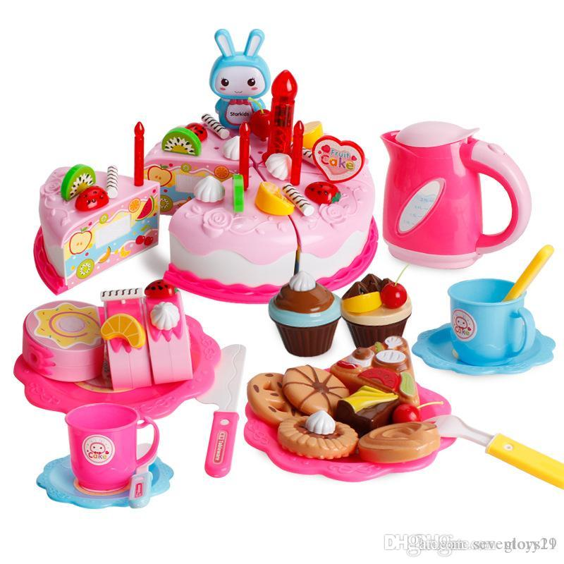 62 PCS Diy Cutting Birthday Cake Dessert Pretend Play Food Toys With Candles For Kids Girls