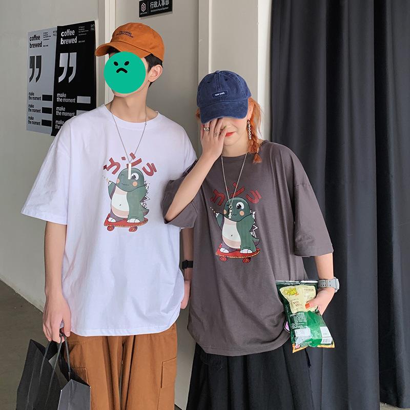 Sommer Baumwolle kurze Männer Mode Marke Rundhalsausschnitt Lose Lässige Vielseitige Halbhülse T-Shirt für Liebhaber