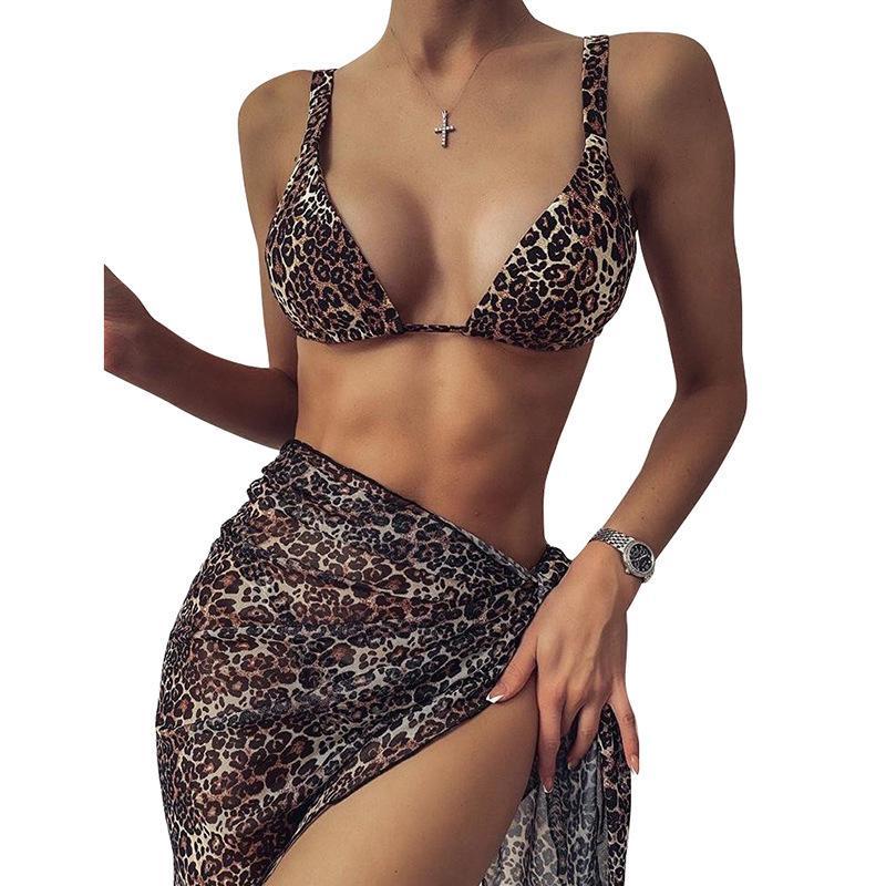 2021 Paquete de triángulo de leopardo Tres piezas sexy serpiente bikini traje de baño