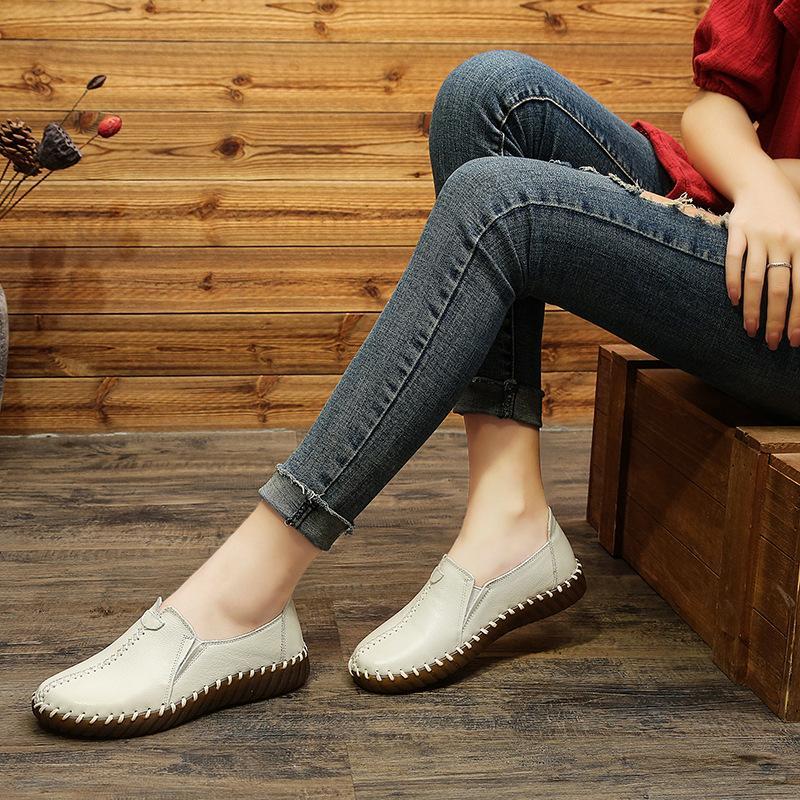 Bahar yeni el yapımı bayan ayakkabı el yapımı ayakkabı rahat annelik ayakkabı yumuşak alt anne
