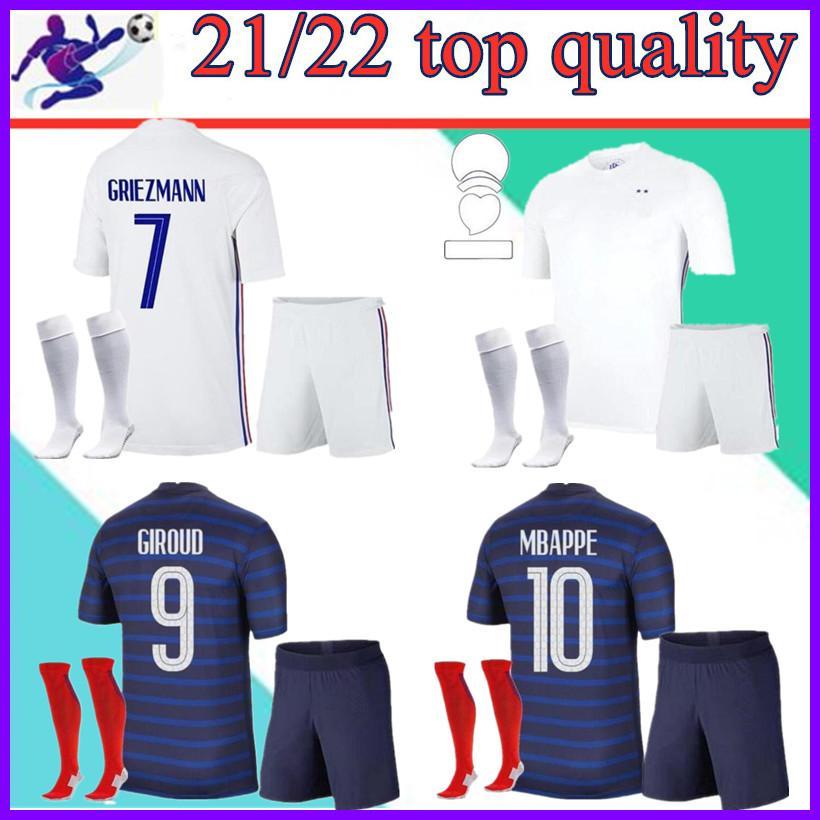 Man + Kids Kit и Socks 2021 Griezmann MBappe Франция Футбол Джерси 20 21 Зидан Погрей Рубашка Maillot De Football