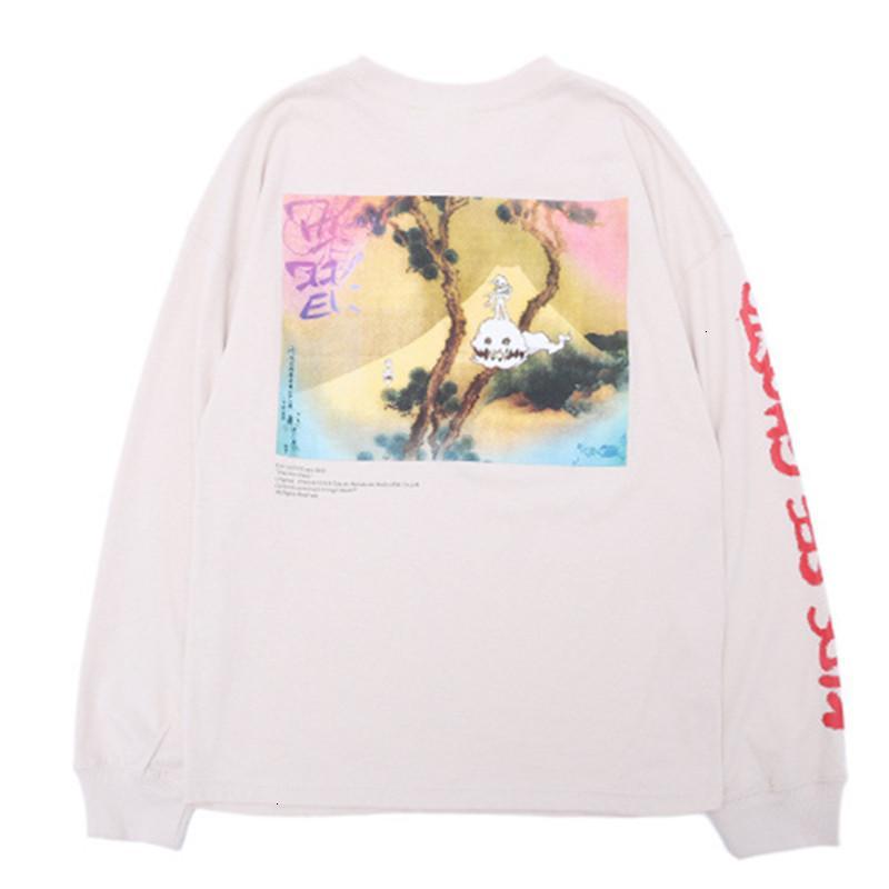 T-shirt da uomo Hip hop P Kanye West Kids See Ghosts T-Shirt Uomo Donna PullOver Manica lunga Camicia Murakami Takashi Watercolor Stampa Tee Y75B