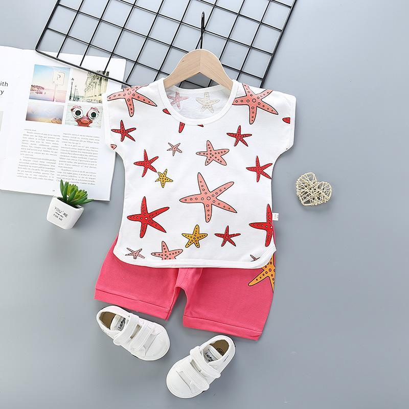 Summer Children Suits For Boys And Girls Short Sleeve Sets Baby Two Clothes T-shirt + Shorts Toddler Clothing