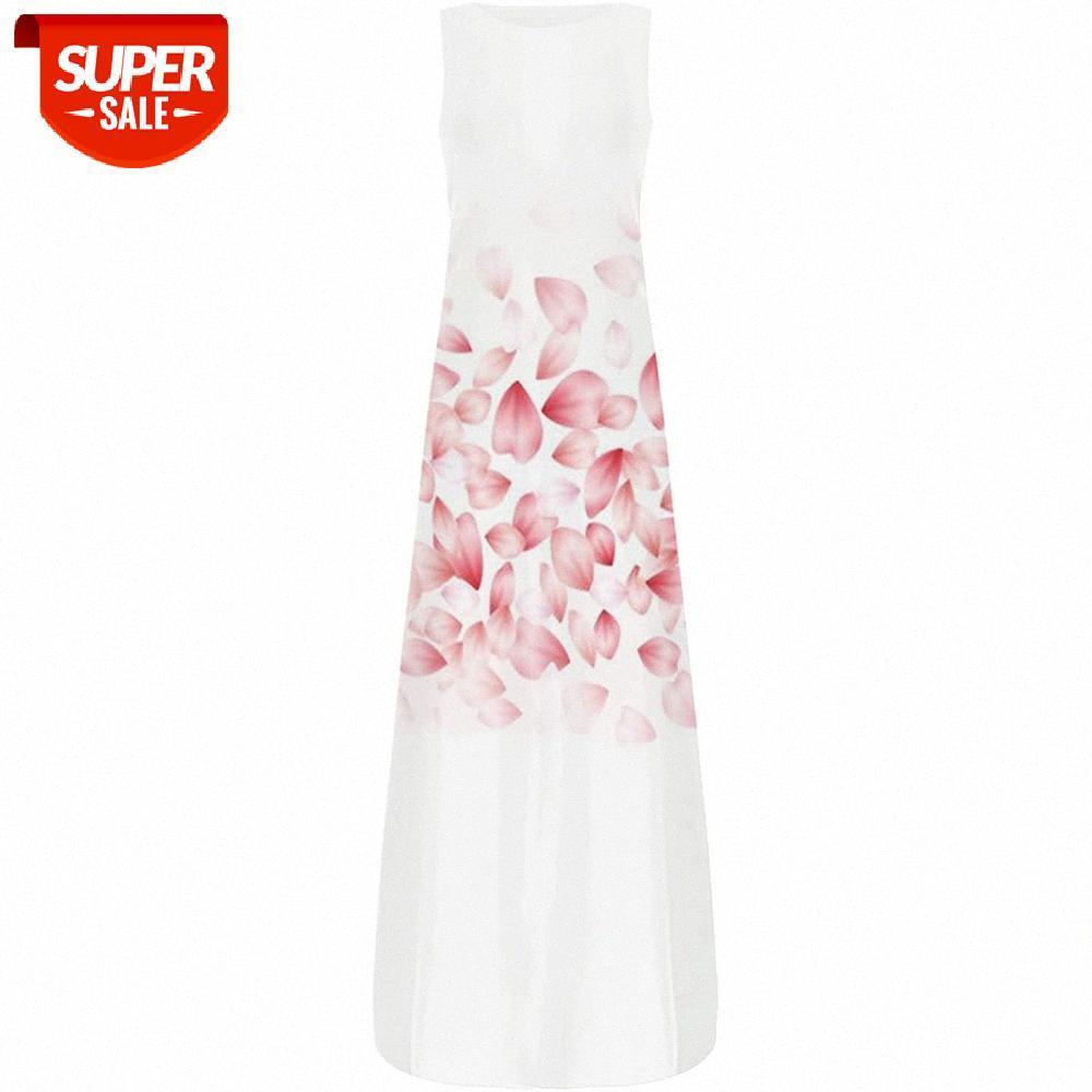 [auf Lager] Frauenkleider ärmelloses Rundhals-Kleid Großes Größe drucken hohe Taille Floral # xd5e