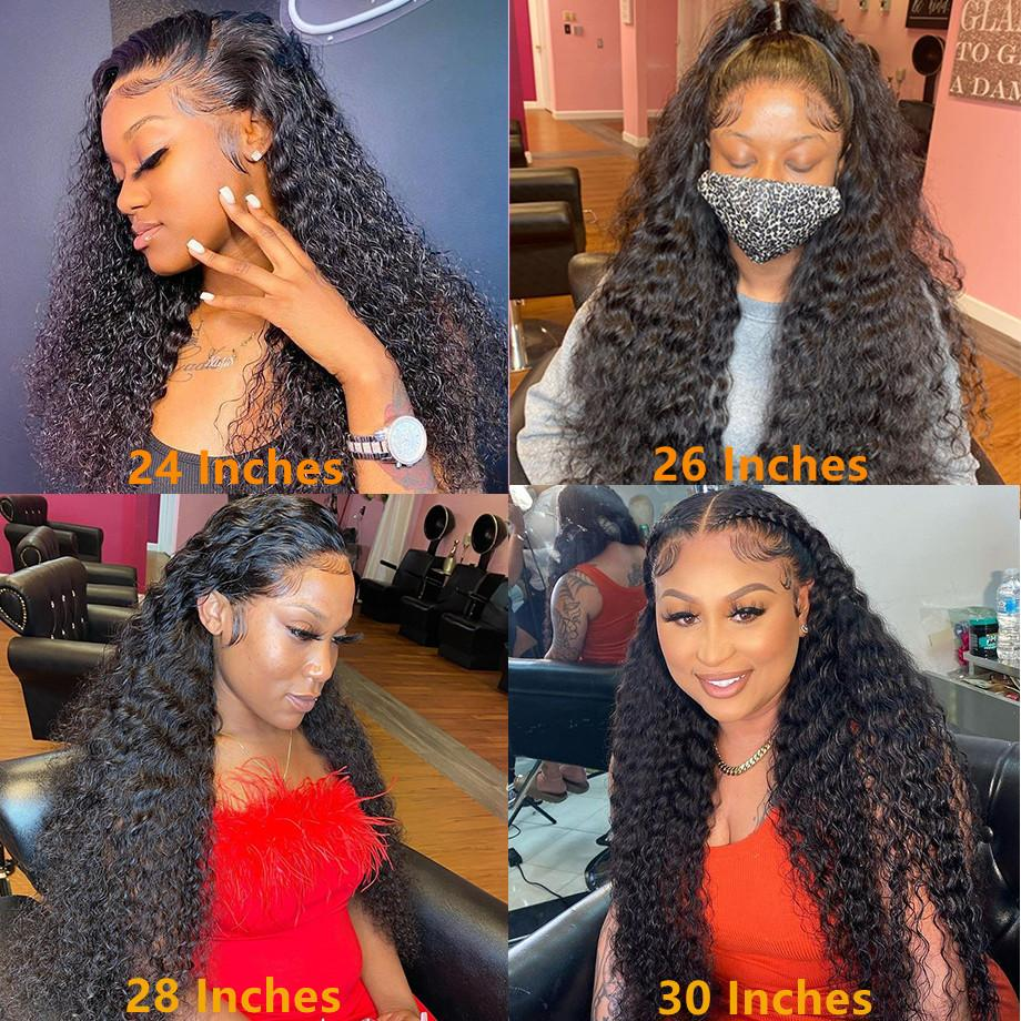 Curly Human Hair Wig 13x4 Water Wave Lace Front Wigs For Black Women Brazilian Short Bob Pre Plucked 28 30 Inch Deep Frontal Wig
