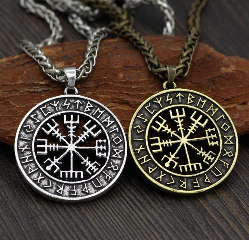 Collares colgantes Nordic Viking Venodin Logo Compass Collar Masculino Moda Accesorios Largo Amuleto