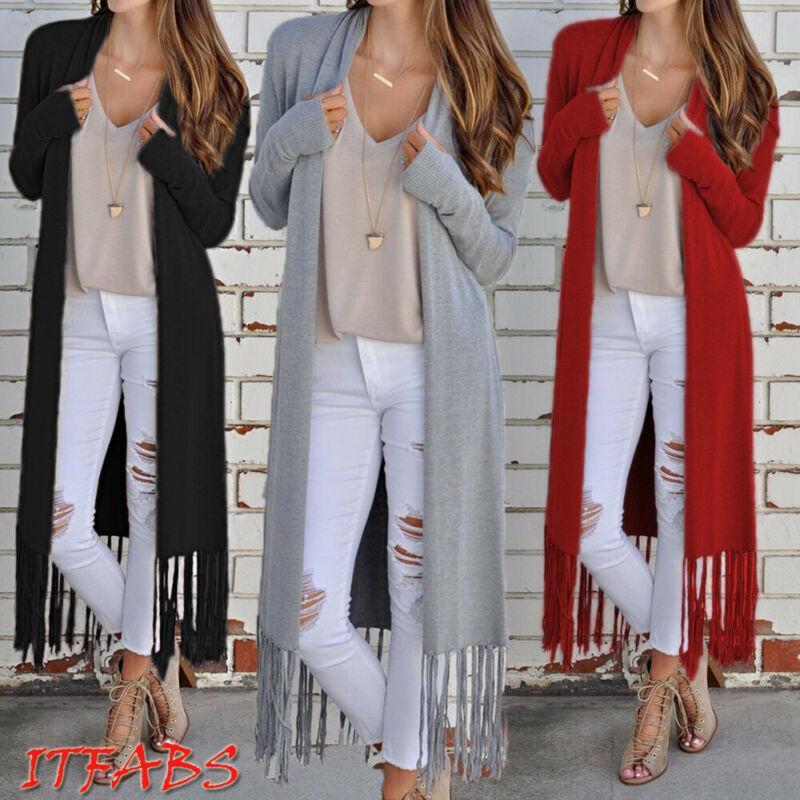 가을 여자 롱 코트 레트로 술 카디건 여성 캐주얼 느슨한 긴 소매 outcoat 재킷 outwear 옷 플러스 크기