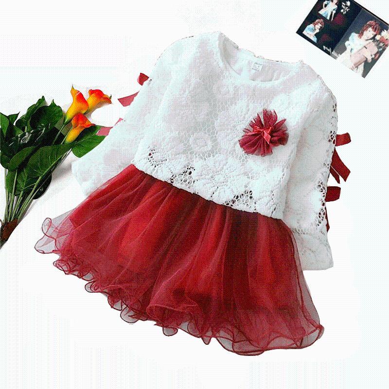 Vestidos de niña Malayu Baby Baby Niña Juego de niña Conjunto 2021 Primavera Otoño Dulce Dulce Flor Hollow Pullover Malla Patchwork Tutu 2pcs 0-2