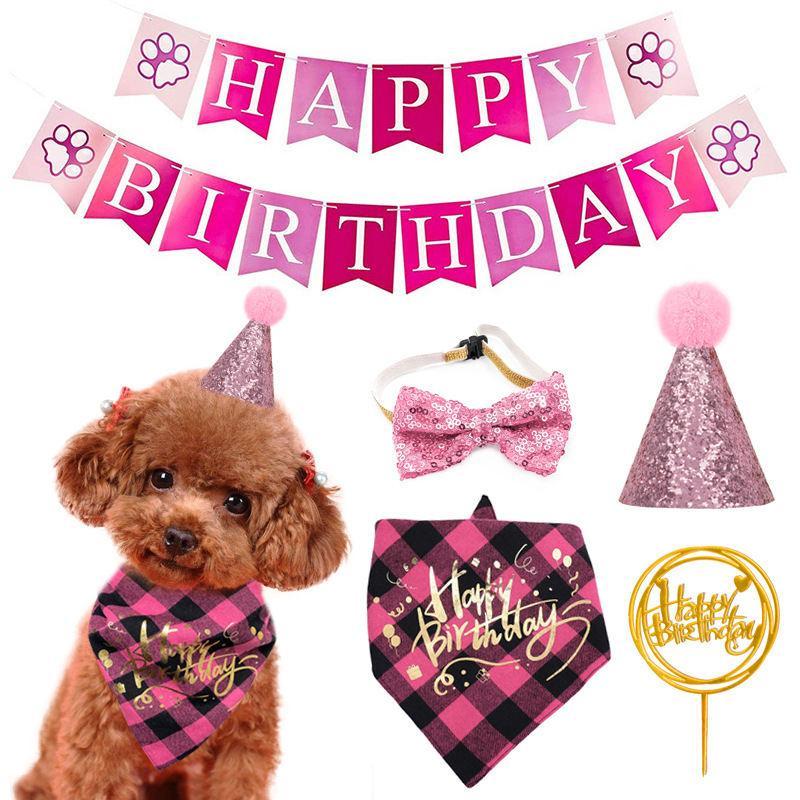 Gatos de estimação e cães festa de aniversário bandeira lenço chapéu adereços decoração do feriado fontes vestir kit