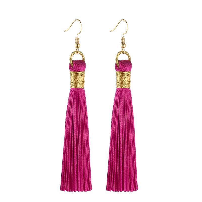 Boucles d'oreilles Tassel pour femmes Déclaration Fashion Bijoux Drop Boucles d'oreilles longues boucles d'oreilles dorées Tissu de soie en soie Vintage