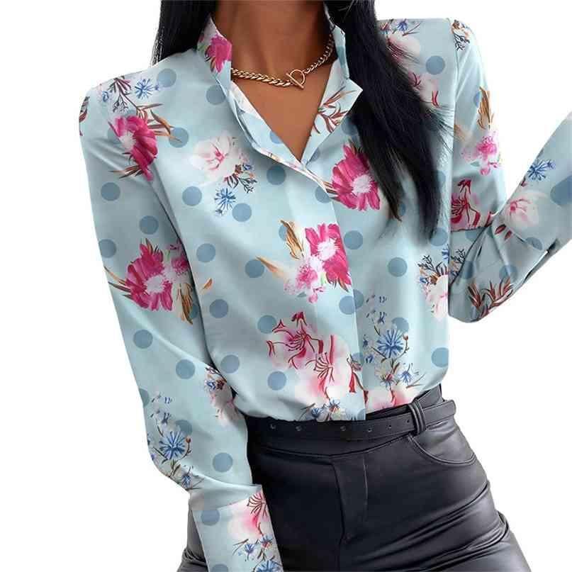 Sommer Blumendruck Bluse Frauen Kleidung Stehkragen Langarm Büro Dame Shirts Tops Weibliche Beiläufige Plus Größe Blusen 210603
