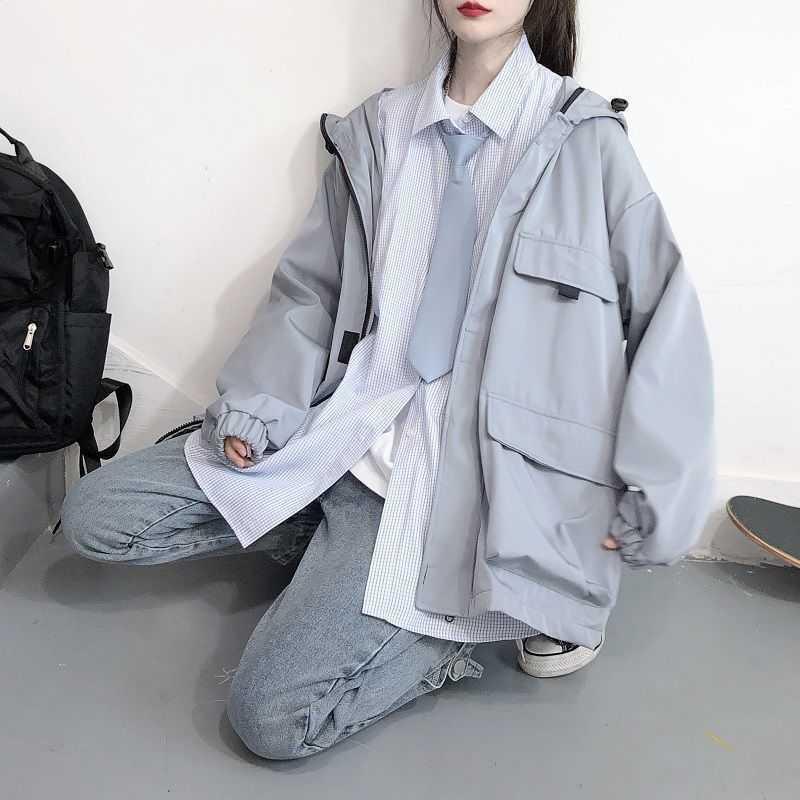 Techwear Chaqueta de la mujer Trend Spring Otoño Coreano Extremo de gran tamaño All-Match Béisbol Uniforme de herramientas Estilo Punk Wear 210526