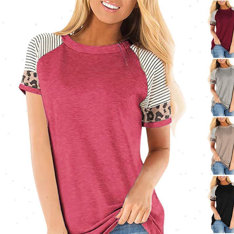 T-shirt da donna Plus Size Donne Camicie da donna in cotone Casual Summer Tops a strisce Leopardo Patchwork manica corta Tee