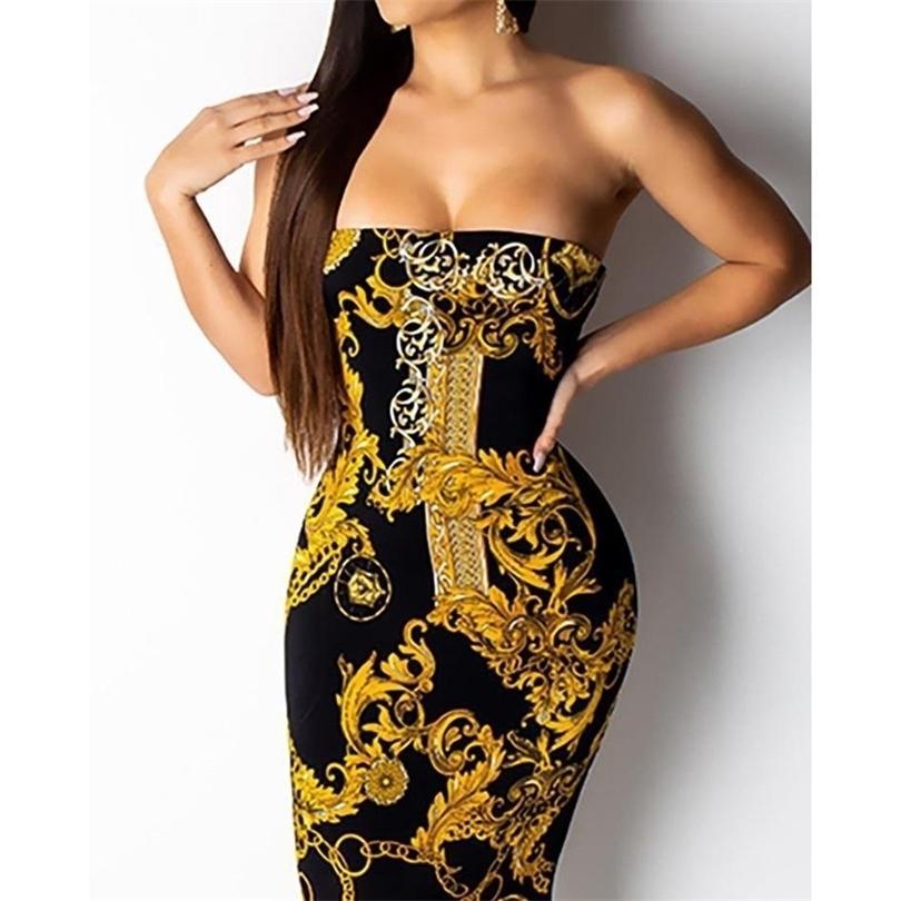 Explosionsmodelle Sexy Mode Gold Kettendruck Sleeveless Word Collar Backless Kleid 210726