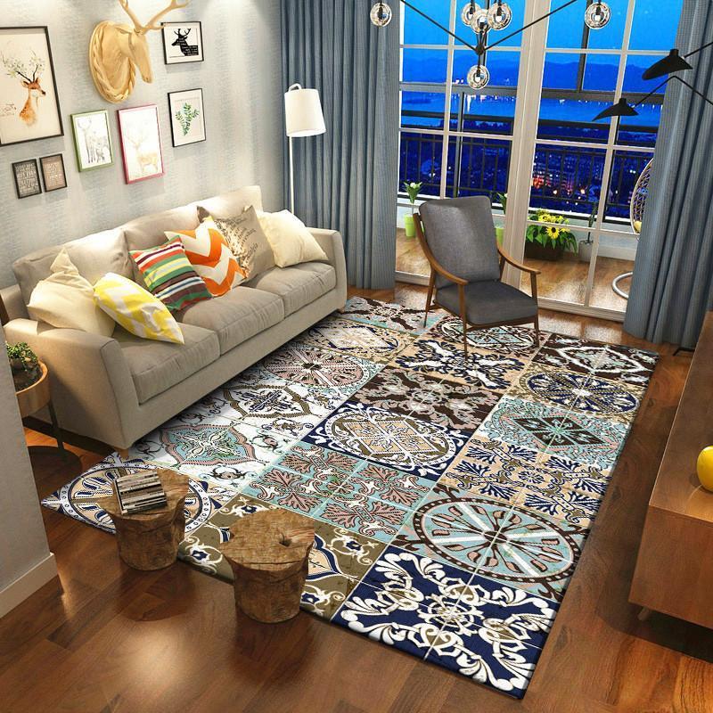 Mode Norde European-Stil Teppich Böhmische Blume Mosaik Teppich Wohnzimmer Schlafzimmer Bettdecke Küche Badezimmer Bodenmatte Teppiche
