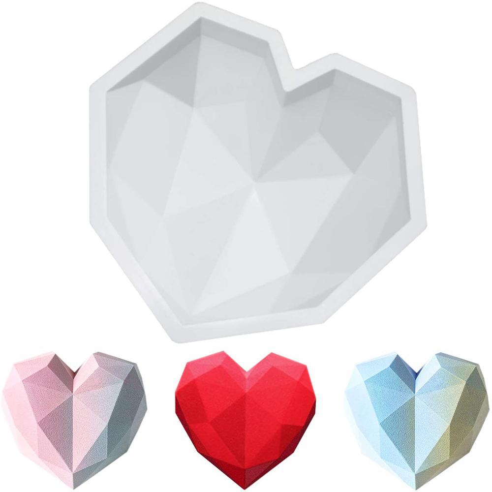 Silikolove 3D Diamant Liebe Herz Form Silikonformen Für Backen Schwamm Chiffon Mousse Dessert Kuchen Food Nahrung