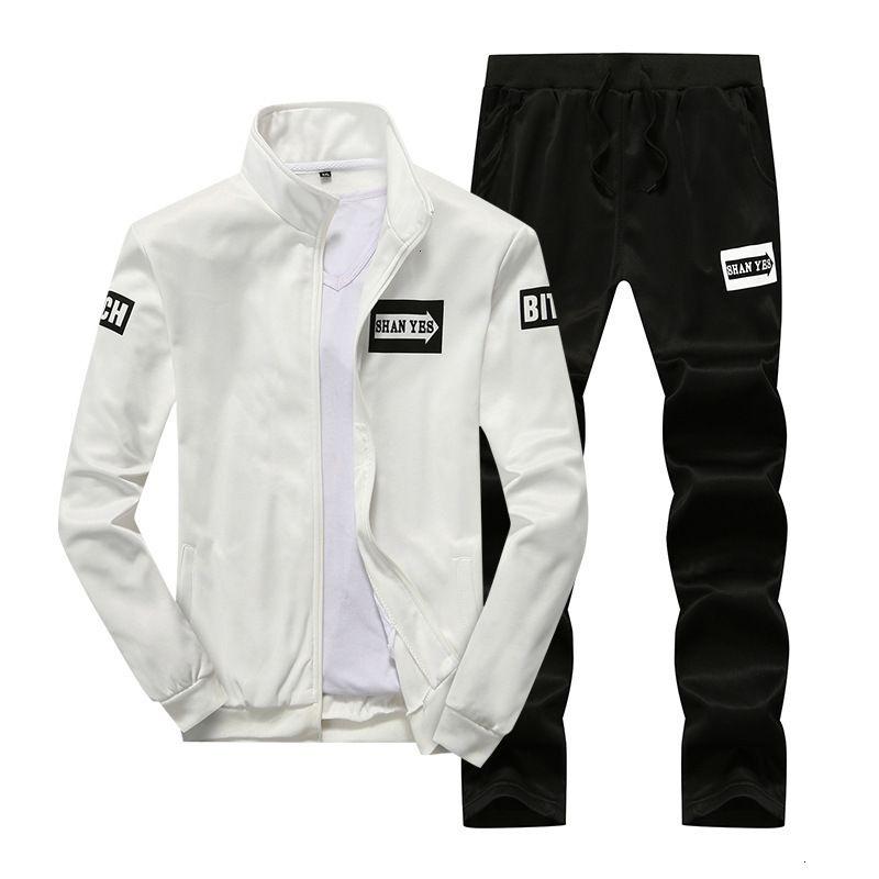 Tracksuits Men's Molla Slim Fit grande Stand Stampante Stand Collar Set Studente Casual Cappotto sportivo Abbigliamento