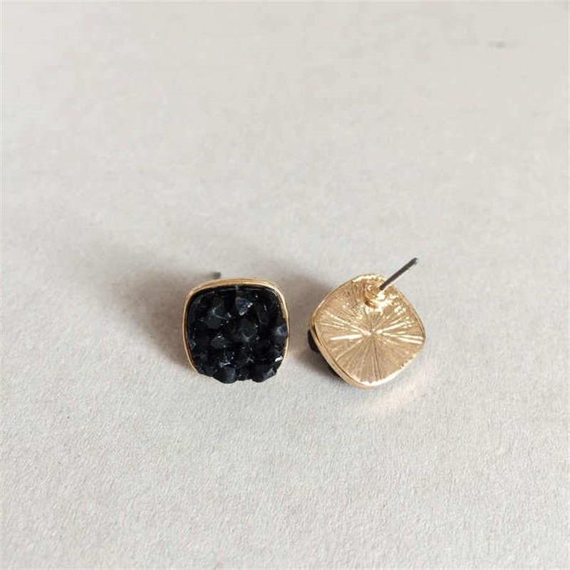 Moda Drusy Druzy Brincos Banhado Ouro Popular Água Quadrada Gota de Pedra Pedra Garanhão Brincos Para As Mulheres 1327 Q2