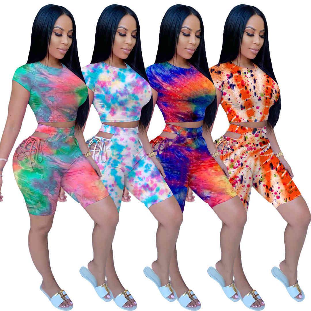 Плюс Размер 2x Летние Женщины Scestsuits Двухструктурные Шорты STOP SPORTSWEAR Модные Галстуки Красячие Полые Дамы Повседневная бега