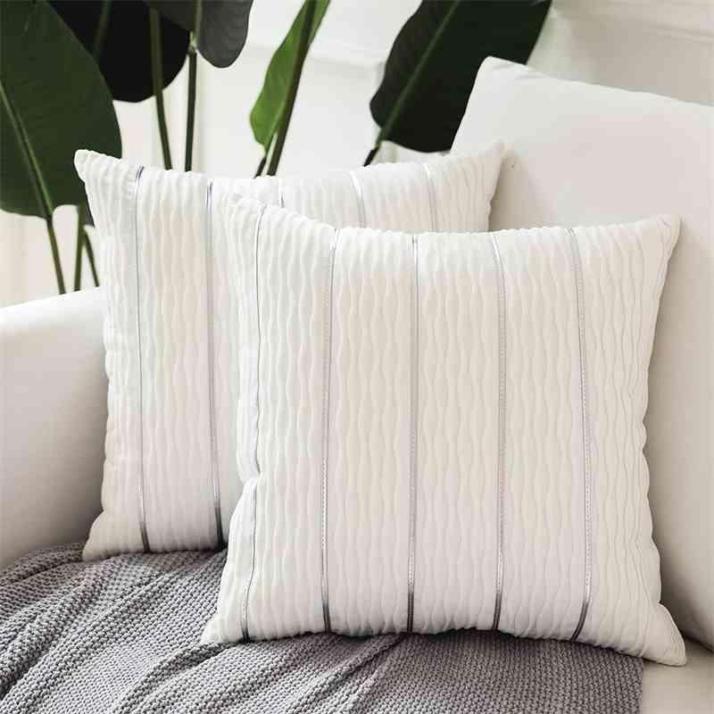 الحديث الأبيض المخملية شريط وسادة 45x45 للأريكة أريكة سرير غرفة المعيشة رمي وسادة القضية يغطي مجموعة من 2 وسادة مربع شائحة 210401