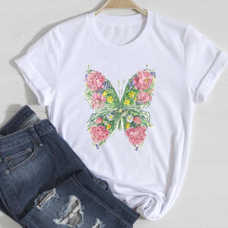 Kadın T-shirt T-Shirt Kadınlar Çiçek Kelebek Giyim Bahar Yaz Kısa Kollu Giysi Şık Tshirt Üst Lady Baskı Tatlı Tee