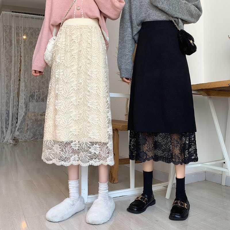 Skirts Maple Leaf Long High Waist Two Style Wear Lace A-Line Loose Vintage Harajuku Spring Midi Skirt Office Lady Z111 5GA9