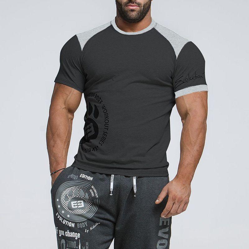 Músculo Fitness Brother 2019 Nuevo Verano Hombre Camiseta de algodón puro Impreso Impreso redondo de manga corta de manga corta Correr T-shirt Tendencia