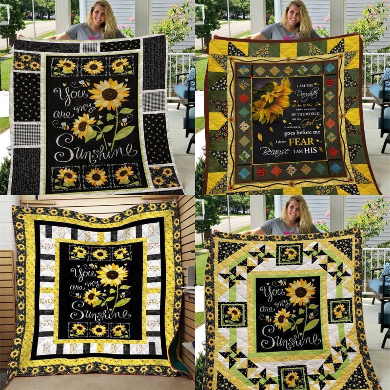 Bettdecken Sets Softbatfy Sunflower Print All Saison Steppdecke für Kinder Erwachsenenbett Weiche warme Decke Drop