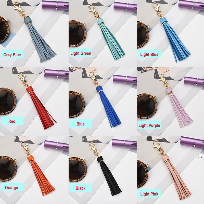 5.9'' PU Leather Tassel DIY Pendant With Lobster Swivel Keychain For Handbag Phone Car Key Jewelry HWD6434