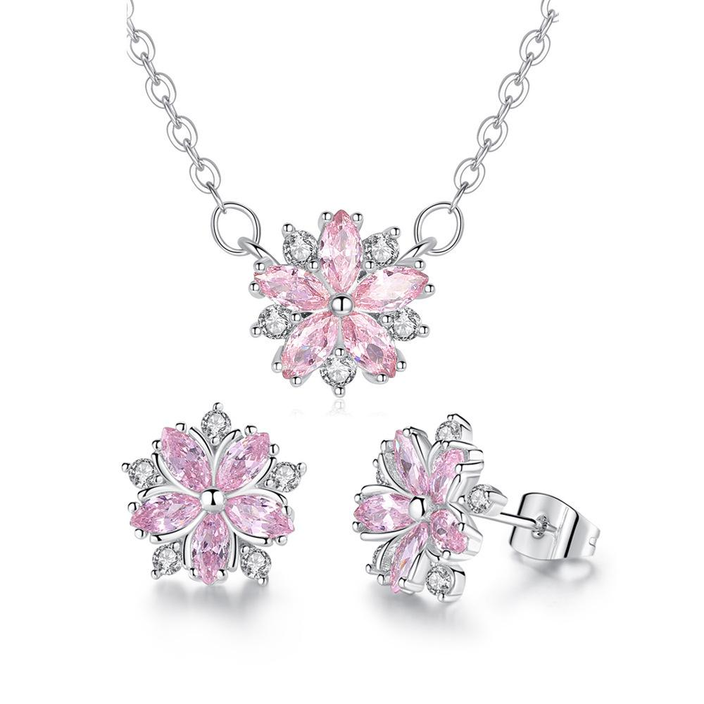 Schmuck Halskette Ohrringe Sets Frauen Party Cubic Zirkon Link Kette Blumen Halsketten für Mädchen