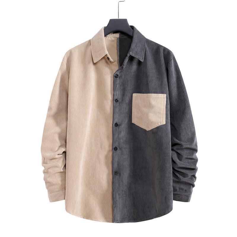 S-XXL 크고 키가 큰 사이즈 남성 캐주얼 셔츠 긴 소매가 스트리트웨어 코듀로이 셔츠 스탠드 칼라 자켓 컬러 블록 outwear 탑스 남자