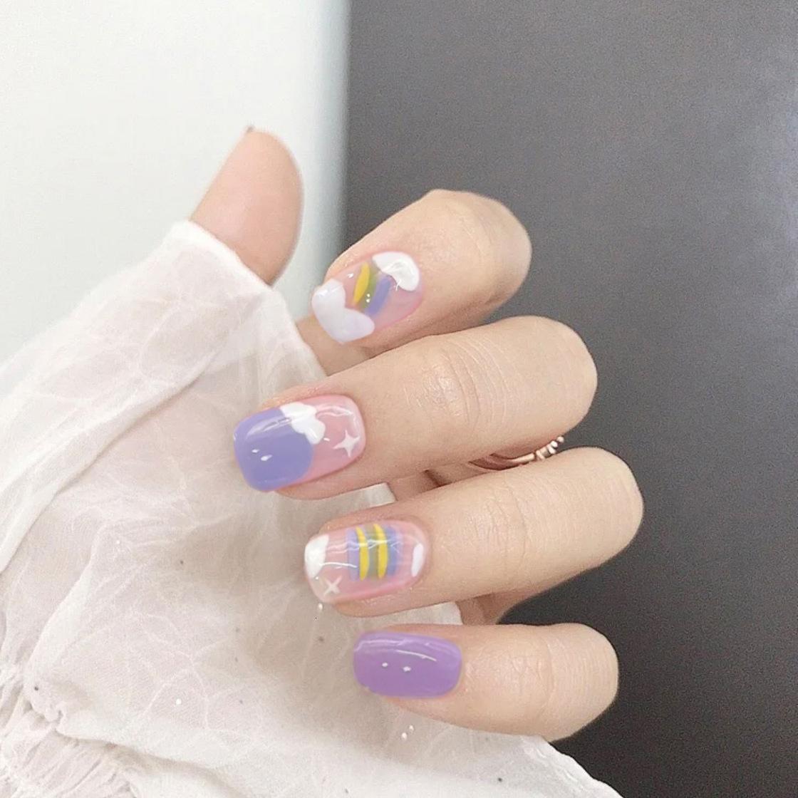 Decorated Nail Hand Stylist Diy Nina Pd-78 Blue Purple Rainbow False Nail Patch Wear Enhancement Finished
