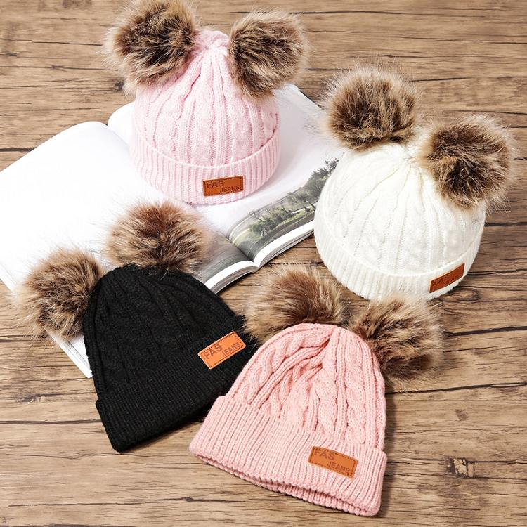 8 Styles Winter Hat Boys Girls Knitted Beanies Thick Baby Cute Hair Ball Cap Infant Toddler Warm Caps Boy Girl Pom Poms Warmer Hats M926