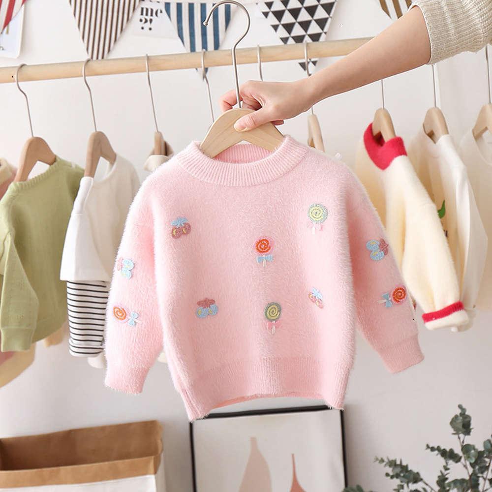 Кардиганская физическая стрельба для стрельбы детский корейский свитер свитер девушки леденец круглый воротник норки вит пуловер