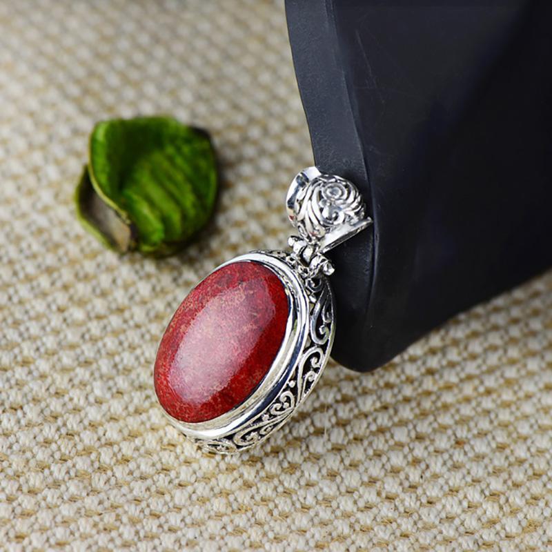Подлинная 925 стерлингового серебра красный коралловый подвес для женщин натуральный драгоценный камень Винтажное античное ожерелье и медалью
